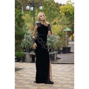 Fekete bársony maxi ruha kép