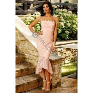 Rózsaszín csipkés midi ruha kép