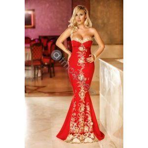 Piros-arany sellő maxi ruha kép