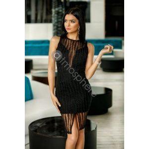 Fekete hímzett láncos ruha kép