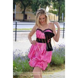 Pink-fekete taft ruha kép
