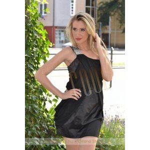 Fekete szatén muszlin ruha kép