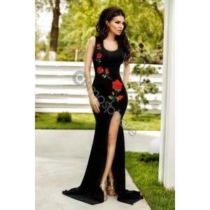 Fekete himzett rózsás maxi ruha kép