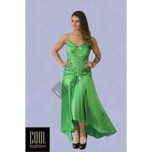 Hosszú zöld szatén ruha kép