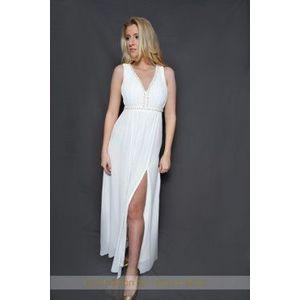 Fehér gyöngyös muszlin maxi ruha kép