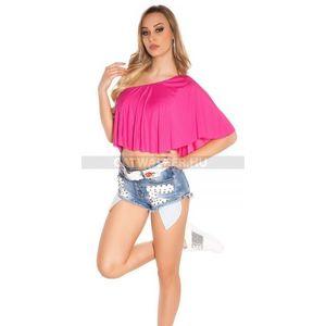 Női top, haspóló egyvállas - pink - catwalker kép