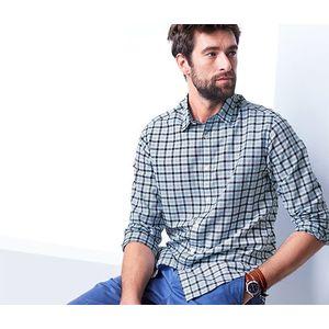 Tchibo férfi pamut-lenvászon ing, kockás kép