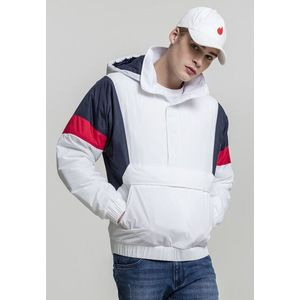 Urban Classics 3 Tone Pull Over Jacket white/navy/fire red kép