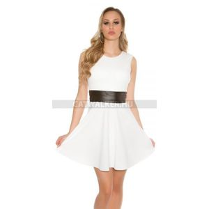 Alkalmi ruha derekán műbőr betéttel - fehér - catwalker kép