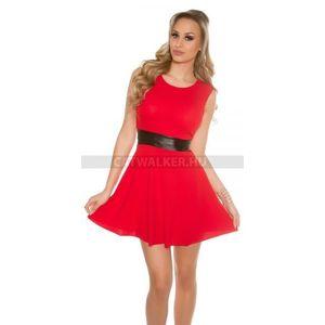 Alkalmi ruha derekán műbőr betéttel - piros - catwalker kép