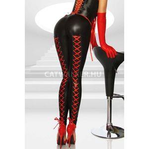 Hátul fűzős, bőrhatású leggings - catwalker kép