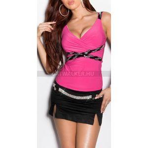 Női top V-nyakú, melle alatt díszített - pink - catwalker kép