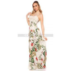 Maxi ruha horgolt díszítéssel, virágmintás - zöld - catwalker kép
