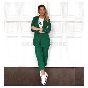 Suito - rakott elejű, kötős kosztüm nadrág- zöld kép