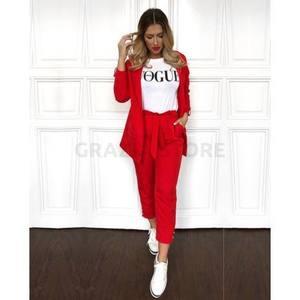 Suito - rakott elejű, kötős kosztüm nadrág- piros kép