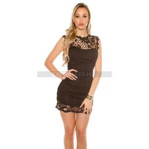 Alkalmi ruha, rövid, ujjatlan, gyönyörű csipkés - fekete - catwalker kép