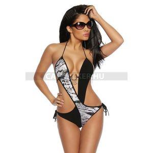 Fürdőruha, monokini kétszínű - fekete-zebra - catwalker kép