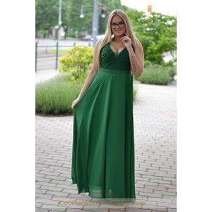 Borsó zöld gyöngyös maxi ruha kép