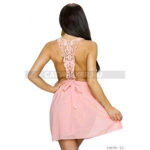 Alkalmi sifon ruha, hátán horgolt díszítéssel - rózsaszín - catwalker kép