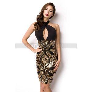 Alkalmi ruha alján arany flitterrel díszített - fekete - catwalker 5caa8fbf39