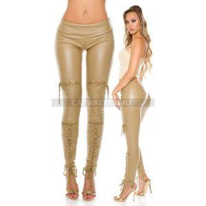 Női nadrág, elején fűzött, bőrhatású, bézs - catwalker kép