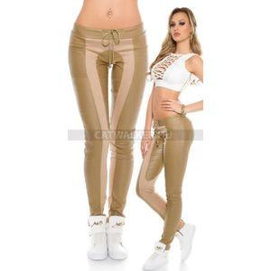 Női nadrág bőrhatású, szövet díszítéssel - bézs - catwalker kép