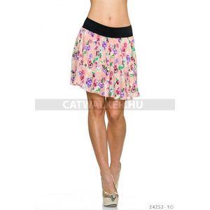Szoknya, gumis derekú virágos rózsaszín - catwalker kép