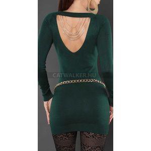 Kötött ruha nyakán szegecsekkel, hátán lánccal díszített - zöld - catwalker kép