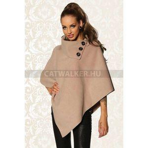 Kabát, gombos poncsó - bézs - catwalker kép