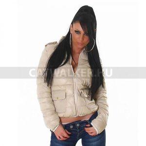 Női télikabát, pufi dzseki, bézs, - catwalker kép