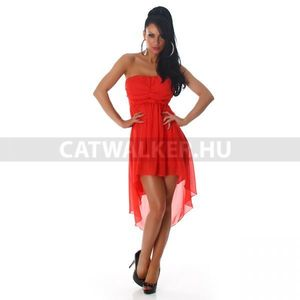 Nyári ruha, elegáns, hátulra hosszabbodó, piros - catwalker kép