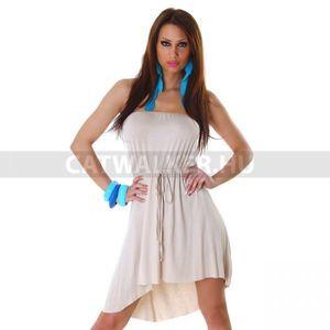 Nyári ruha, csinos, pánt nélküli, bézs - catwalker kép
