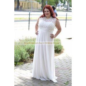 Felül csipkés fehér muszlin maxi ruha kép
