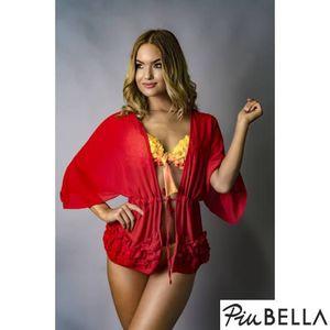 Iris Red - Piros, elöl nyitott strandruha, megkötővel, fodros alsó résszel kép