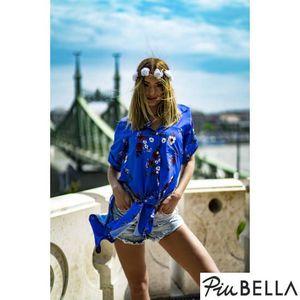Karly Blue - Kék, oldalt felvágott, virágmintás ingruha kép