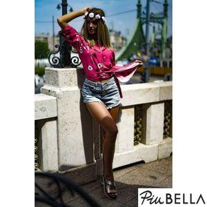 Karly Pink - Rózsaszín, oldalt felvágott, virágmintás ingruha kép