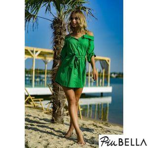 Becky - Zöld ruha galléral, fodros ujjal, elöl gombos kép