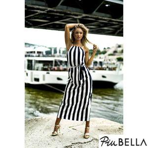 Z dress - Ujjatlan hosszú ruha, fekete-fehér csíkos mintával, derekánál megkötővel kép