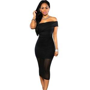Ejtett vállú csíkos fekete ruha kép