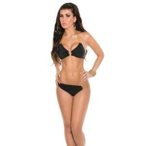 Fekete bikini arany díszekkel, lánccal kép