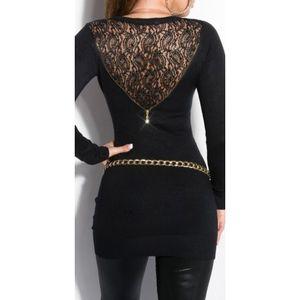 Fekete zipzározott miniruha/tunika csipkével kép
