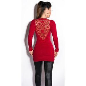 Piros miniruha/tunika csipke hátkivágással kép