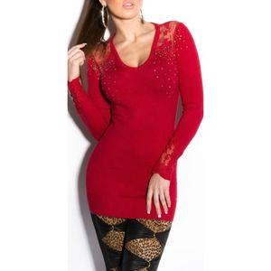 Piros miniruha/tunika vállnál csipkével, strasszal kép