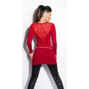 Piros zipzározott miniruha/tunika csipkével kép
