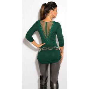 Zöld sztreccs miniruha/tunika szexis hátkivágással kép