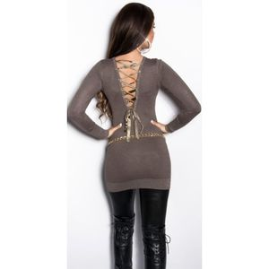 Cappucino hátul szalaggal díszített pulóver/miniruha kép