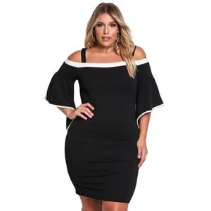 Fekete fehér szegélyes ejtett vállú ruha kép