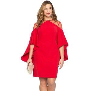 Piros tölcsér ujjú ruha áttetsző vállrésszel kép