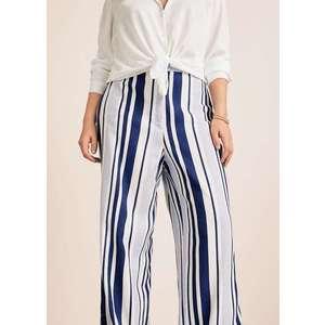 Mango pantalón lino rayas kép