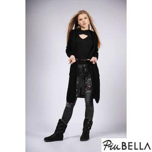 Elena Black - Fekete, kötött, hosszított kardigán kép